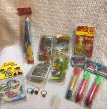 VINTAGE LOT 11 SMALL TOYS, WATCH, POP GUN, INSECTS, RINGS, BALL GAME, PARACHUTE