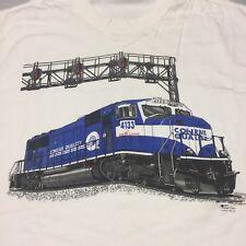Railroad White T-Shirt Train Conrail Quality 4133 Radial AC Tracks