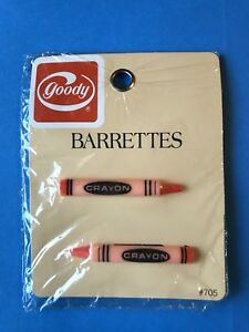 Vintage Goody Set Of 2 Barrettes Crayons Orange Hair Accessories New 1983 USA