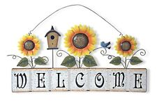 "Large Spring Garden Sunflower Welcome Sign Wall Décor 22""L X 11.25""H"