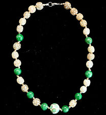 Antique +1700 Years old Wound Glass Roman Beads +Jade And Murano Beads Necklace