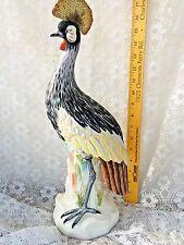 Large Hoope Bird Mottahedeh Porcelain Crested Crane Egret statue reeds 18''