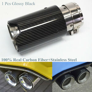 1 Pcs Glossy Black Real Carbon Fiber Car Exhaust Tip Pipe 2.5inch ID with M Logo