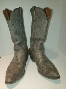 Vintage Lucchese Ostrich Full Quill Boots 1980's DARK GRAY IN COLOR. 8.5 MENS