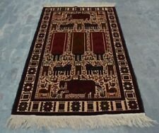 H279 Vintage Afghan Decor Wall Hanging Adam Pictorial Hunting Rug 3'10 x 6'3 Ft