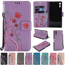 Butterfly Stand ID Wallet Leather Flip Case Cover For Sony Z3 Z5 XZ X XA M4 Aqua