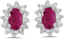 14k White Gold Oval Ruby And Diamond Earrings (CM-E6410XW-07)