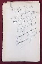 Raymond Escholier 1931 Autographe Dédicace à Léon Treich Victor Hugo