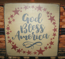 PRIMITIVE  COUNTRY GOD BLESS AMERICA sm sq sign