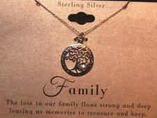 """Sterling Silver Necklace Family Tree With Crystal Heart 18"""" Chain Love Of Family"""