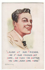 Laugh at Our Friends Young Man artist signed M R 1910c postcard