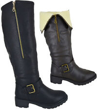 Womens Ladies Fur Lined Low Flat Heel Knee High Biker Riding Boots Shoes Size