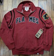 $99 CALGARY FLAMES 47 BrandTrack Jacket Sweatshirt Mens Small Medium Embroidered