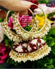 Indian Bollywood Pearl Enameled Mharoon jhumkas Earrings Women Bridal Jewelry