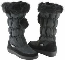 Coach Womens Theona Black Rabbit Fur Snow Boots