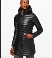 Lululemon Women Hooded Pack It Down Black Shine Long Jacket  New Size 4