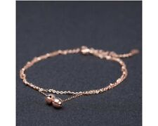 high quality korean delicate double small bell rose gold anklet fashion Titanium