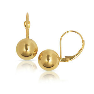 Dangle Polished Ball Pierced Leverback  Earrings Solid 14K Yellow Gold