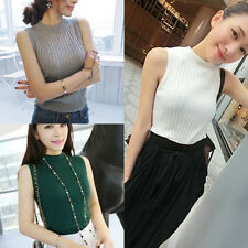 Womens Knitted Sleeveless Turtle Neck Tank Top Vest Sweater Pullover Ribbed Tee