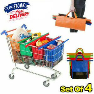 4 x New Foldable Reusable Supermarket Shopping Trolley Grocery Grab Clips Bag UK