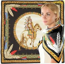 "VERSACE black & gold Feathers TRIBAL CHIEF on HORSE 35"" Silk scarf NWT Authentic"