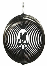 Swen Products Lowchen Dog Circle Swirly Metal Wind Spinner