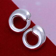 *UK Shop* 925 SILVER PLT SNAKE INFINITY HOLLOW CIRCLE OUROBOROS STUD EARRINGS