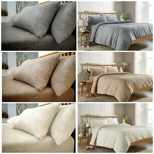 New TEDDY BEAR Fleece Duvet Quilt Cover + PillowCase Or Fitted Sheet Warm & Cozy