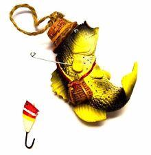 Gone Fishing Bass Figurine Ornament Fisherman Fish Gift Christmas Tree Hanger