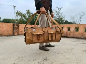 Leather Travel Men Luggage Duffle Vintage Duffel Weekend Overnight 26 INCH Bag