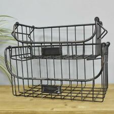 Set Of 2 Metal Baskets Rectangular Iron Wire Storage Cages Bathroom Accessories