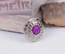 10X Purple Bead Charm Bling Silver Sun Flower Leather Wallet Western Conchos