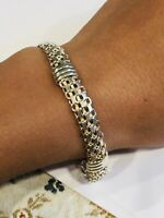 "Vtg Women ITALY .925 Sterling Silver Mesh Links Bracelet 7.5"" - 11.8g"