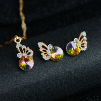Woman Gold Plated Earrings+Necklace Crystal Rhinestone Butterfly Jewelry Set