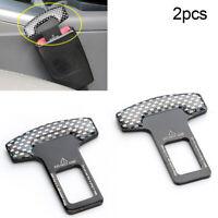 2Pc Carbon Fiber Car Safety Seat Belt Buckle Alarm Stopper Clip Clamp Universal