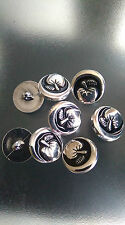 10 x METAL  BUTTONS WITH SLIVER APPLE DESIGN 22MM