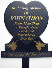 Memorial Plaque Black & Gold Grave Personalised Temporary Marker Headstone Heart