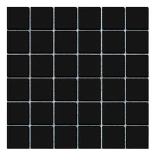 Shapes Black Large Square Gloss Mosaic Wall & Floor Tiles 4.8 x 4.8
