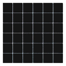 Toto Black Large Square Gloss Mosaic Wall & Floor Tiles 4.8 x 4.8