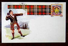 Clan SCOTT Man in Kilt Throwing Shot put Scottish Tartan & Arms Postcard ca.1905