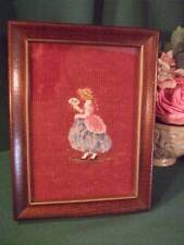 Antique Victorian Women Old Petit Point Needlepoint Framed A+