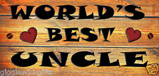 FUNNY WOODEN  PLAQUE  WORLDS BEST UNCLE GIFT PRESENT
