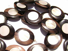 DJ-13 Ebony Wood Inlaid Makabibi MOP Shell Bead Component  Oval Handmade Large