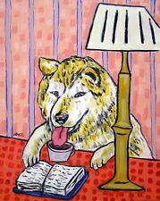 akita dog reading dog art Print poster gift new Jschmerz 13x19