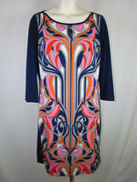 Banana Republic Women's Stretch Multi-color Mod 3/4 Sleeve Dress Size L Large