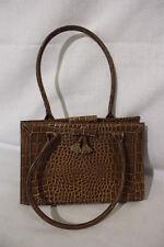 """LIZ CLAIBORNE Brown """"CROC"""" Box Purse, Double Handle & Front Bow & Tassel B27"""