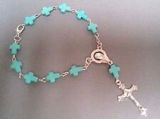 Pocket RosaryTravel Auto 1 Decade Mini TURQUOISE CROSS Beads Silver Tone Center