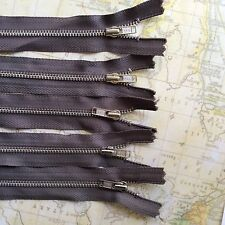 5 x 18 Cm  Khaki Brown metal ZIPS Zippers YKK brand (#248)