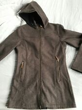 """""""Eider"""" Brown Twill Coat, fleece lining with hood, length hits mid-thigh"""