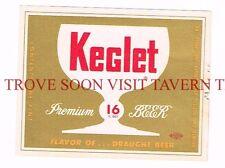 Unused 1950s Esslinger Keglet 16oz Beer label Tavern Trove Pennsylvania